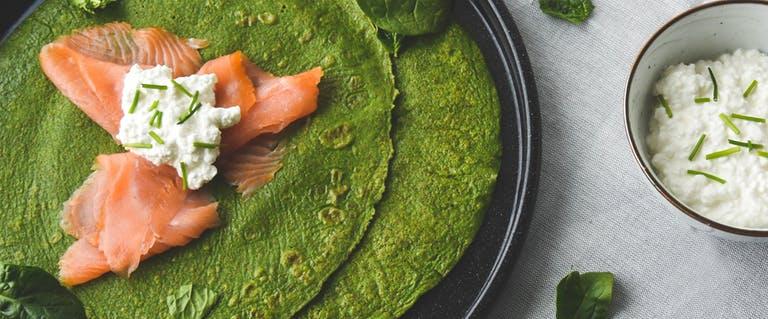 Spinazie pannenkoeken met zalm